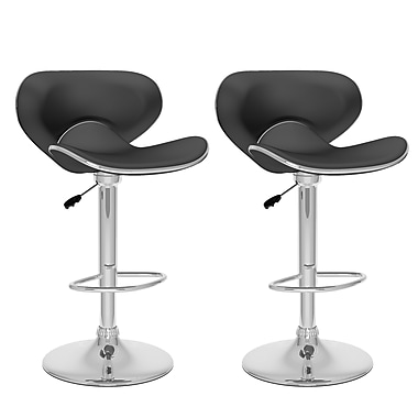 CorLiving™ Leatherette Curved Form Fitting Adjustable Bar Stool, Black