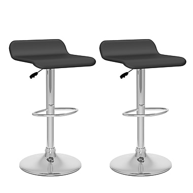 CorLiving™ Leather Curved Adjustable Bar Stools