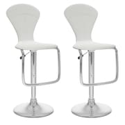 CorLiving™ Leatherette Tapered Full Back Adjustable Bar Stool, White