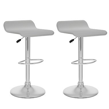 CorLiving™ Leatherette Curved Adjustable Bar Stool, White