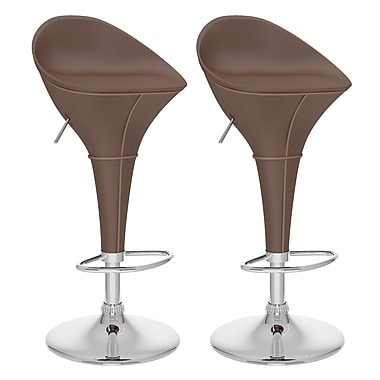CorLiving™ Leatherette Round Adjustable Bar Stool, Brown