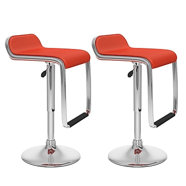 CorLiving™ Leatherette Adjustable Bar Stool with Footrest, Red