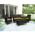Sonax® Cascade Resin Rattan Wicker 4 Piece Patio Set, River Rock Black