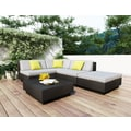 Sonax® Park Terrace Resin Rattan Wicker 5 Piece Sectional Patio Set, Textured Black