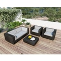 Sonax® Park Terrace Resin Rattan Wicker 5 Piece Sofa Patio Set, Textured Black