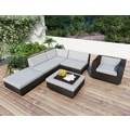 Sonax® Park Terrace Resin Rattan Wicker 6 Piece Sectional Patio Set, Textured Black