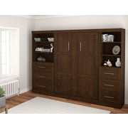 """Pur by Bestar 120"""" Full Wall Bed Kit with 36"""" Drawers & 25"""" Drawers, Chocolate"""