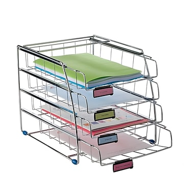 Alba Front Load Letter Tray, Letter Size Portrait, 4 Sliding Compartments, Chrome
