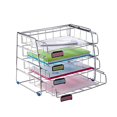Alba Front Load Letter Tray, Letter Size Landscape, 4 Sliding Compartments, Chrome