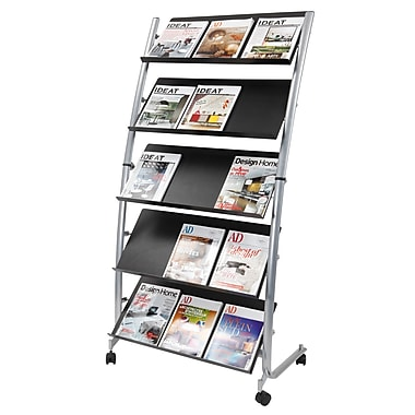 Alba 15-Compartments Mobile Magazine Display, Silver Grey and Black