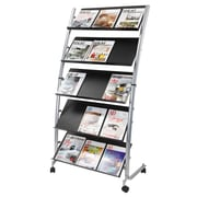 Alba Metal Large Mobile Literature Display, 5-Pocket