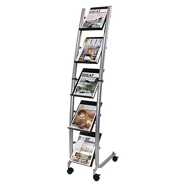 Alba 5 Pocket Narrow Mobile Literature Display, Metallic Gray and Black