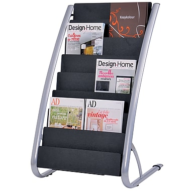 Alba 16-Compartments Magazine Display, Silver Grey and Black