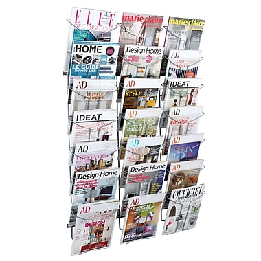 Alba Wall 21 Compartment Literature Display, Chrome