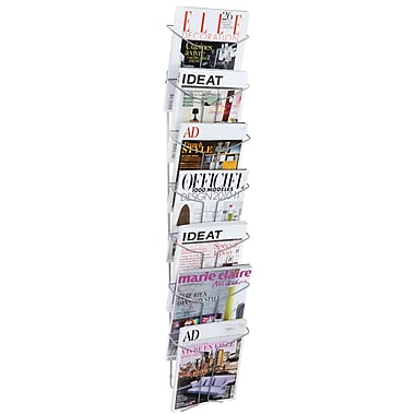 Alba Wall 7 Compartment Literature Display, Chrome