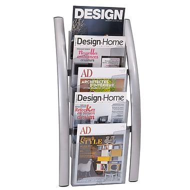 Alba Wall 5 Compartment Literature Display Acrylic, Silver
