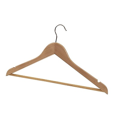 Alba Wooden Coat Hangers, Wood and Chrome, 25/Pack