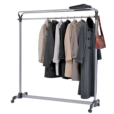 Alba Double Sided Mobile Garment Rack with 3 Metal and Plastic Hangers, Silver