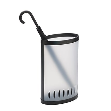 Alba Modern Plastic Umbrella Stand, Clear/Black