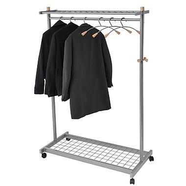 Alba Mobile Garment Rack, Chrome/Mahogany