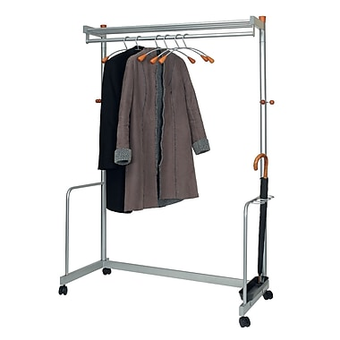 Alba Mobile Garment Rack, Chrome/Metallic Gray