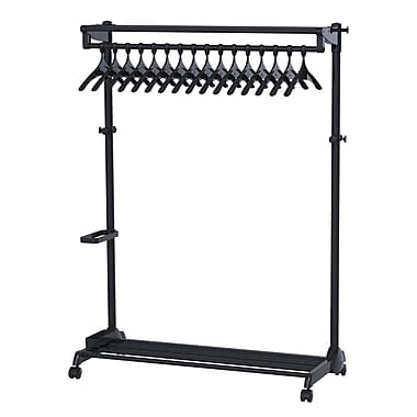 Alba Stylish One-Sided Mobile Garment Rack eith Theft Deterrent Hanging System, Black