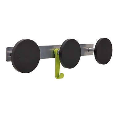 Alba Innovative Triple Plastic Knob Coat Rack with 1 Plastic Hook, Metallic Gray with Black Accents