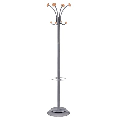 Alba Classical Look Floor Coat Stand with 4 Double Coat Pegs, Silver/Gray