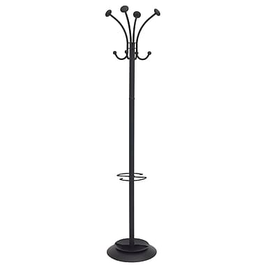 Alba Classical Look Floor Coat Stand with 4 Double Coat Pegs, Black