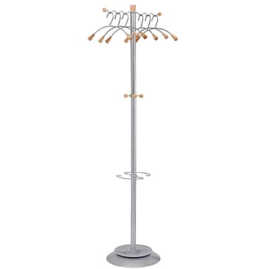 Alba Modern Floor Coat Stand, Metallic Gray
