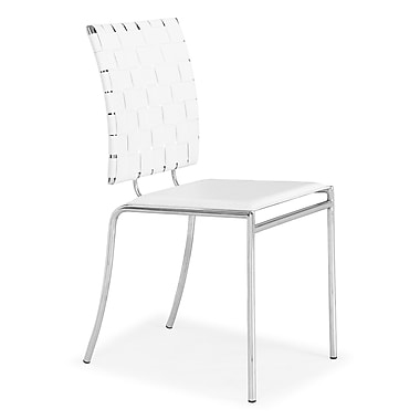 Zuo® Criss Cross Leatherette Dining Chairs, White, 4/Pack