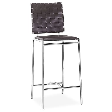 Zuo® Leatherette Criss Cross Counter Chairs, Espresso