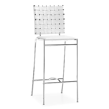 Zuo® Leatherette Criss Cross Counter Chairs, White, 2/Pack