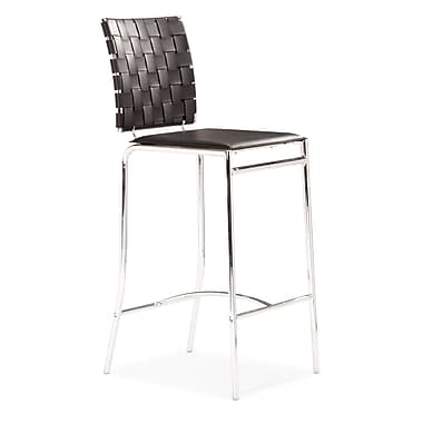 Zuo® Leatherette Criss Cross Counter Chairs, Black