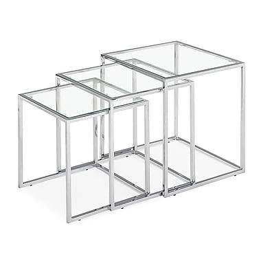 Zuo – Tables gigognes Pasos en verre trempé, transparent