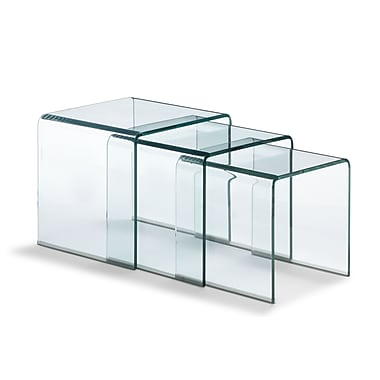 Zuo® 14in. x 14in. Tempered Glass Explorer Nesting Table, Clear