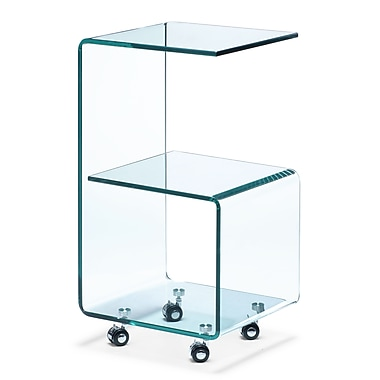 Zuo® 13 1/2in. x 15in. Tempered Glass Trek Side Table, Clear