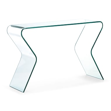 Zuo® 47in. x 15.7in. Tempered Glass Respite Console Table, Clear