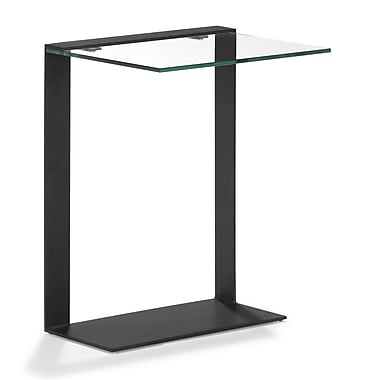 Zuo® 20in. x 16in. Painted Tempered Glass Zeon Side Table, Black
