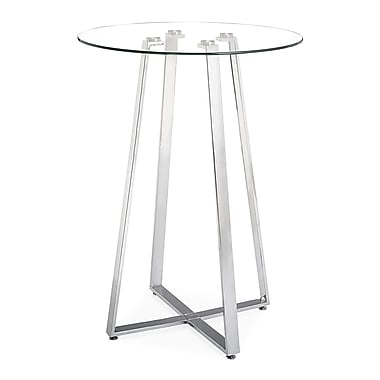 Zuo® Lemon Drop 31 1/2in. Tempered Glass Bar Table, Clear