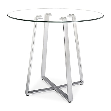 Zuo® Lemon Drop 40in. Tempered Glass Counter Table, Clear