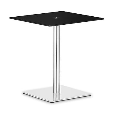 Zuo® Dimensional 19 1/2in. x 19 1/2in. Painted Tempered Glass Pub Table, Black
