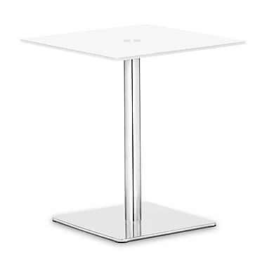 Zuo® Dimensional 19 1/2in. x 19 1/2in. Painted Tempered Glass Pub Table, White
