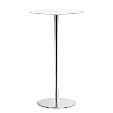 ZuoMD – table style bar en verre trempé peint de la collection Cyclone, 23 1/2 po de diamètre, blanc