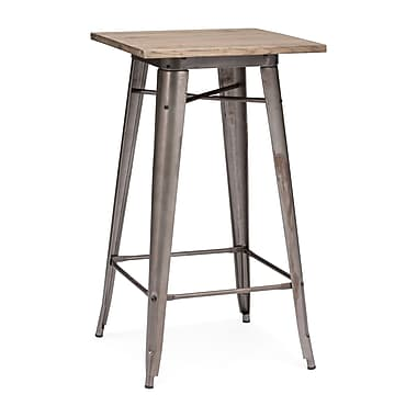 Zuo® Titus 23.8in. x 23.8in. Elm Wood Bar Table, Rustic Wood