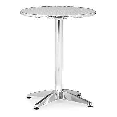 ZuoMD – Table pliante en MDF recouvert d'aluminium collection Christabel, 31 haut. x 23 1/2 larg. x 23 1/2 prof. (po), aluminium