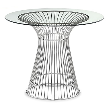 Zuo® Whitby 35 1/2in. Glass Dining Table, Stainless Steel