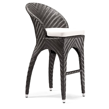 Zuo® Synthetic Weave Corona Bar Chair, Espresso