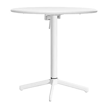 Zuo® 29 1/2in.(H) x 29.9in.(W) x 29.9in.(D) Epoxy Coated Steel Big Wave Folding Round Table, White