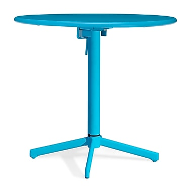 Zuo® Epoxy Coated Steel Big Wave Folding Round Tables, 29 1/2